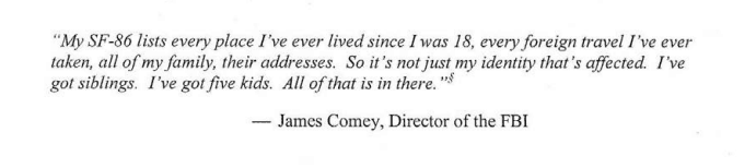2015 OPM Breach Quote James Comey FBI Director